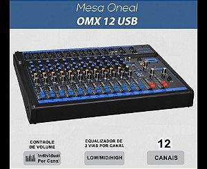 MESA DE SOM ONEAL OMX 12 USB, COM 12 CANAIS