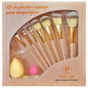 Kit com 7 Pincéis + 2 esponjas - Ruby Anjo