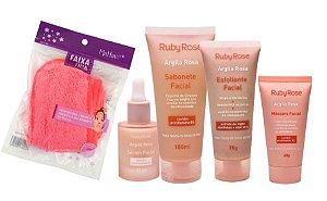 Kit Cuidados com a Pele Linha Argila Rosa Ruby Rose