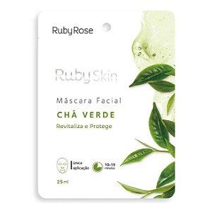 Máscara Facial de Tecido Chá Verde - Ruby Rose