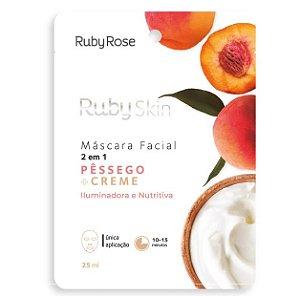 Máscara Facial de Tecido 2 em 1 Pêssego e Creme - Ruby Rose