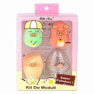Kit 3 Esponjas com Estojo Mcdull - Hello Mini