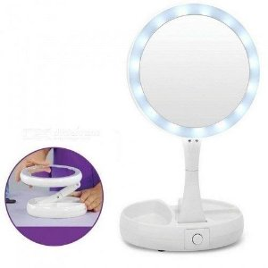 Espelho de Maquiagem Articulável  com LED 2 Lados