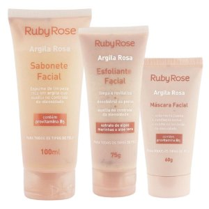Kit Argila Rosa 3 Produtos - Ruby Rose