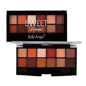 Paleta de Sombra 12 Cores Sweet Colorful Cor B - Belle Angel