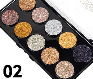 Miss Rose Paleta de Glitter 10 Cores Cor 02