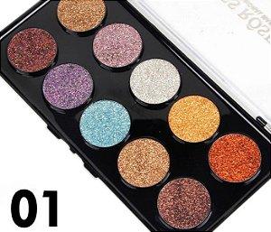 Miss Rose Paleta de Glitter 10 Cores Cor 01