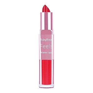 Batom Duo Matte Lips Feels 316 - Ruby Rose