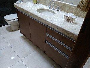 Banheiro Planejado Sob Medida em MDF Cobre Corten da Arauco e MDF Branco TX Masisa.