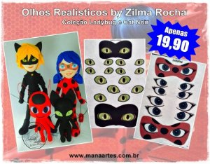 KIT OLHOS LADYBUG e CATNOIR by Zilma Rocha