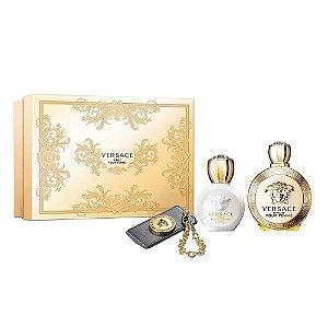Kit Perfume Versace Eros Pour Femme EDP 100ML + Loção Corporal + Chaveiro