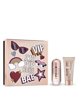 KIT Perfume Carolina Herrera 212 Vip Rose Feminino EDP 080ml + Loção Hidratante