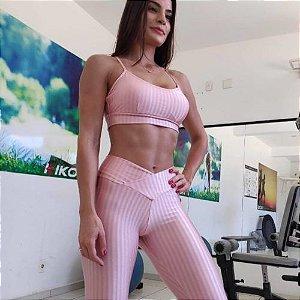 Calça Legging Carioca Fit Empina Bumbum Cirrê 3D Metalizado  Rosê