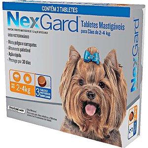 Antipulgas e Carrapatos NexGard 11,3 mg para Cães de 2 a 4 Kg- 3 tabletes
