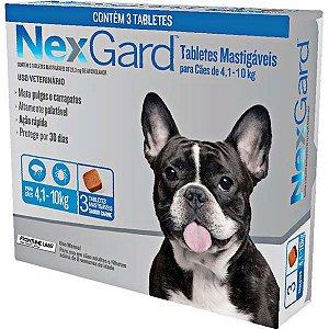 Antipulgas e Carrapatos NexGard 28,3 mg para Cães de 4,1 a 10 Kg- 3 tabletes