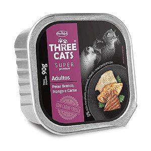 Patê Three Cats Super Premium Adultos sabor Peixe Branco, Frango e Carne 90g