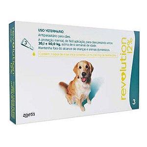 Antipulgas e Carrapatos Zoetis Revolution 12% para Cães de 20 a 40 kg - 3 Ampolas de 2,0 mL