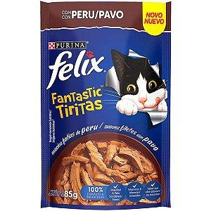 Ração Úmida Nestlé Purina Felix Fantastic Tiritas Peru para Gatos Adultos