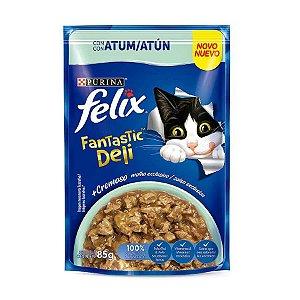 Ração Úmida Nestlé Purina Felix Fantastic Deli para Gatos Adultos Sabor Atum 85g