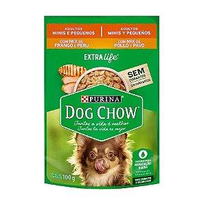 Ração Úmida Nestlé Purina Dog Chow para Cães Adultos Mix de Frango e Peru 100g