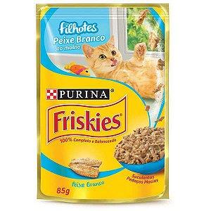 Ração Úmida Nestlé Purina Friskies Sachê Peixe ao Molho para Gatos Filhotes