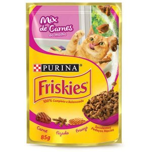 Ração Úmida Nestlé Purina Friskies Sachê Mix Carne ao Molho para Gatos