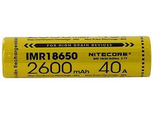 BATERIA 18650 LITHIUM POWER IMR 40A 2600 MAH - NITECORE