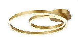 Plafon Hypnosis Metal 50x30cm LED integrado 3000K Bivolt 50W Dourado Skylight SKY-3077DO