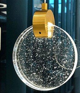 Pendente Sand Metal Dourado e Cristal 11x15cm Bivolt 3W 3000K Skylight SKY-3051DO