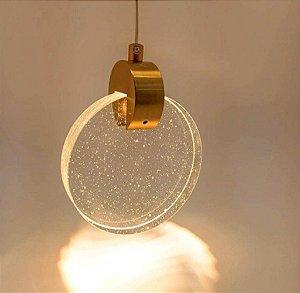 Pendente Sand Metal Dourado e Cristal 13x17cm Bivolt 3W 3000K Skylight SKY-3052 DO