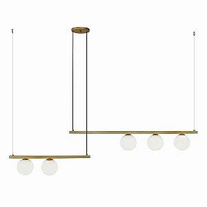 Pendente Orbit 5 Esferas Alumínio e Vidro 118,5x10x12cm 5xG9 25W Bivolt Cor Dourado e Branco Casual Light PDH1528DO