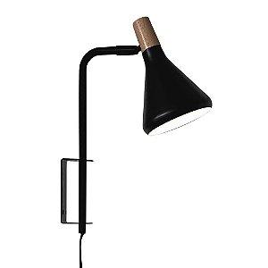 Arandela Horn Metal e Madeira 23x12,5x36cm 1xG9 40W Bivolt Cor Preto Casual Light QAR1457PT