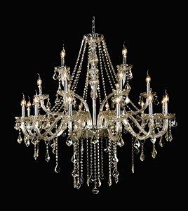 Lustre Maria Thereza Aço Vidro e Cristal 110x105cm 21xE14 Bivolt Cor Champagne Arquitetizze LC1410-21.000