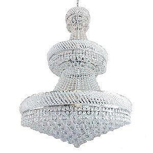 Lustre Imperial Aço Vidro e Cristal  80x120cm 21xE14 Bivolt Arquitetizze LC4611-21.000
