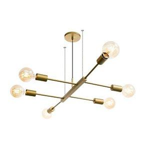 Pendente Jazz Alumínio 94x46x18cm 6xE27 LED Bulbo A60 ou LED Filamento Bivolt Itamonte Nac 469/6