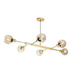 Pendente Jazz Alumínio 110x60x21cm 6xE27 LED Bulbo A60 ou LED Filamento Bivolt Itamonte Nac 470/6