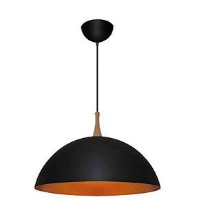 Pendente 1/2 Esfera Alumínio, Madeira e Vidro ø55x27,5cm 2xE27 LED Bulbo A60 Bivolt Itamonte Nac 436/55