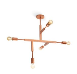 Plafon Jazz S/ Vidro Alumínio 120x66x73cm 5xE27 LED Bulbo A60 ou LED Filamento Bivolt Itamonte Nac 4281/5G