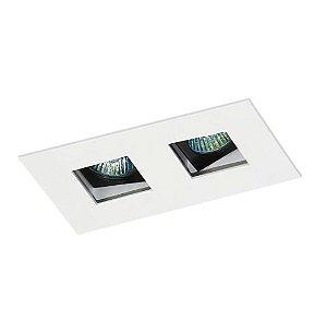 Spot Embutir Duplo Alumínio 08x14x6,5cm 2xGU10 LED Mini Dicróica MR-11 Bivolt Itamonte Nac 12001/2