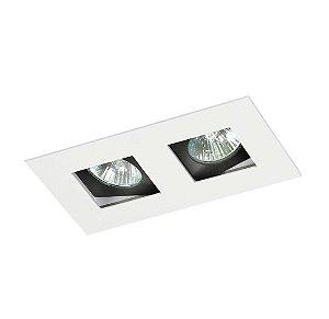 Spot Embutir Duplo Alumínio 10x18x6,5cm 2xGU10 LED Dicróica MR-16 Bivolt Itamonte Nac 12002/2