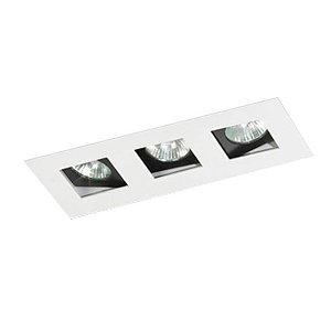 Spot Embutir Triplo Alumínio 10x25,5x6,5cm 3xGU10 LED Dicróica MR-16 Bivolt Itamonte Nac 12002/3