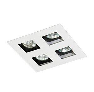 Spot Embutir Quádruplo Alumínio 18x18x6,5cm 4xGU10 LED Dicróica MR-16 Bivolt Itamonte Nac 12002/4