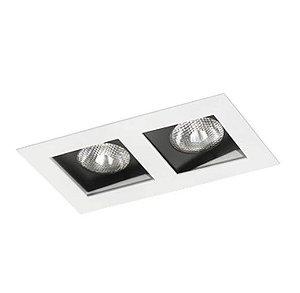 Spot Embutir Duplo Alumínio 13x23,5x11,1cm 2xE27 LED Par20 Bivolt Itamonte Nac 12003/2