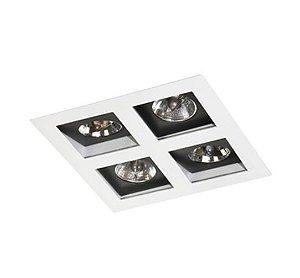 Spot Embutir Quádruplo Alumínio 23,5x23,5x08cm 4xGU10 LED AR70 Bivolt Itamonte Nac 12004/4