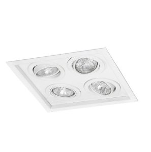 Spot Módulo Embutir Quádruplo Alumínio 28,5x28,5x11,1cm  4xE27 LED Par20 Bivolt Itamonte Nac 1012/4