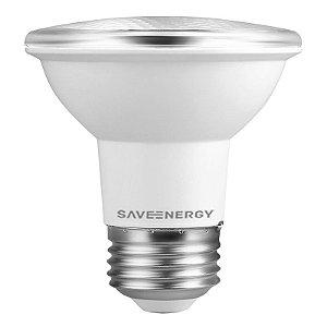 Lâmpada PAR20 IP54 E27 7W   50W 6500K 24º Bivolt 470LM   1830CD  Saveenergy SE-110.1407
