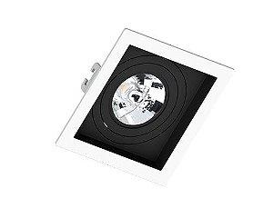 Embutido Recuado Quadrado AR70 130x130x35mm Cor Borda Branca e Recuo Preto Saveenergy SE-330.1201