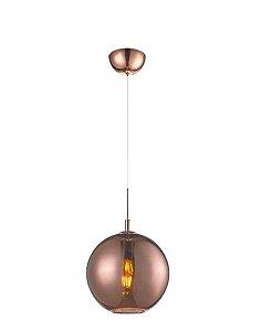 Pendente Aço e Vidro 40cmx38cm 1xE27 60W Cor Bronze Mais Luz PE-001/1.40BRO