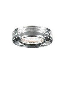 Spot Embutir Aço e Cristal ø10x4,5cm 1xGU10 50W Transparente Mais Luz SE-007/1.10