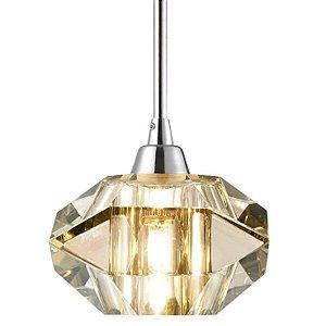 Pendente Aço e Cristal Conhaque 14x15,5x200cm 1xG9 40W Cromado Mais Luz PE-012/1.12CO